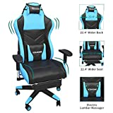 YITAHOME Massage Gaming Chair, Heavy Duty Big and Tall Computer Racing Desk Chair with Footrest, and Large Size PU Leather Swivel Video Game Chair with High Back (Deluxe Light Blue)