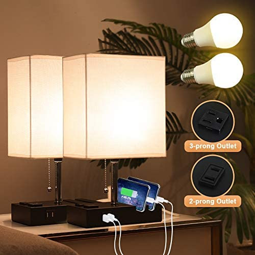 Lifeholder Bedside Lamps with 2 Phone Stands Table Lamp Include 2 Warm LED Bulbs Nightstand product image