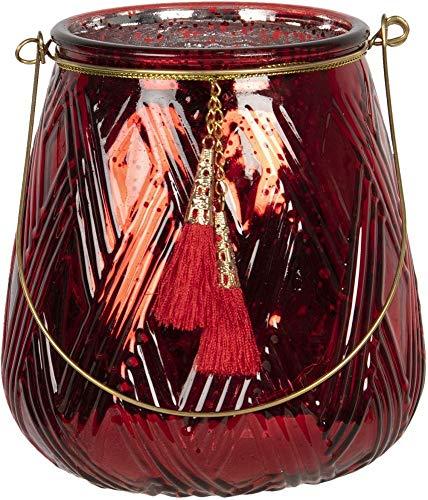 Clayre & Eef Glazen Theelichthouder 6GL2782 Ø 13 * 14 cm - Rood Glas Waxinelichthouder Windlichthouder