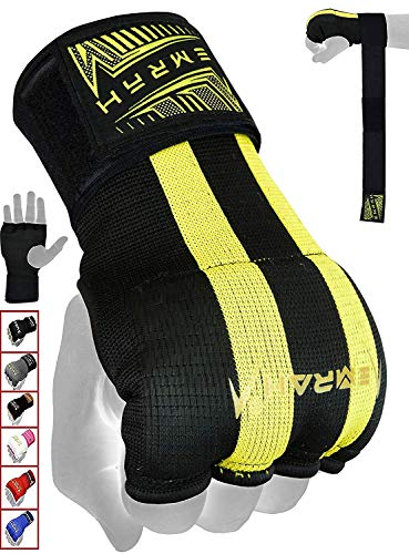 EMRAH PRO Training Boxing Inner Gloves Hand Wraps MMA Fist Protector Bandages Mitts - X (Black, Medium)