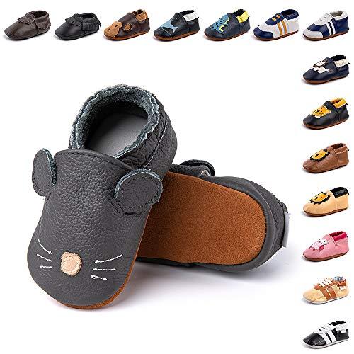 Hitmars Bébé Chaussures Premier pour Filles Garçons Cuir Souple Chaussons Antidérapant Enfants Pantoufle Poids Léger 2-LS 24 Mois