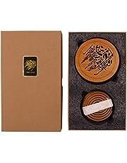 Bakhoor BoSidin - Oud Bakhoor Incense Sticks Cambodian 10 Coils with Bakhoor BoSidin Wooden Incense Burner Mabkhara - A9-1