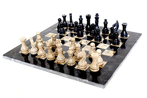 RADICALn 15 Inches Large Handmade Black and Fossil Coral Weighted Marble Full Chess Game Set Staunton and Ambassador GiftStyle Marble Tournament Chess Sets -Non Wooden -Non Magnetic -Not Backgammon
