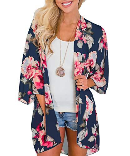 Damen Florale Kimono Cardigan - Chiffon Cardigan Damen Lose Kimono Casual Bluse Shawl Sommer Strand Bikini Cover Up