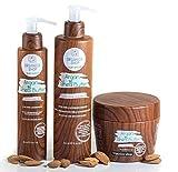 organics-shop set shampooing masque conditioner & huile au beurre de karité formule naturelle sans sulfates paraben sel SLS SLES vegan cheveux secs/abimés/colorés idéal après lissage brésilien