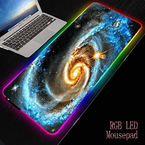 FVNJHL Colorful Space Star Gaming Large RGB Led Illuminate Mousepad Gamer Gran computadora Mouse Mat...