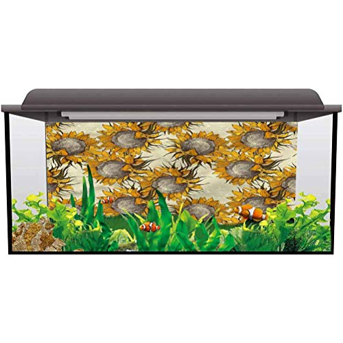 bybyhome Fish Tank Poster Floral,Sketch Sunflowers Autumn Fish Tank Background Decor L24 X H12 Inch