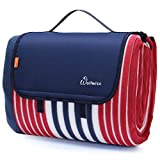 WolfWise Waterproof Picnic Blanket, Extra Large 79'x79' Sandproof Picnic Mat with 3 Layers Material for Outdoor Camping Hiking Grass Travelling, Portable with Storage Bag, Red Blue Stripes