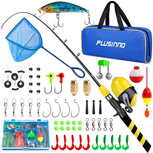 PLUSINNO Kids Fishing Pole, Portable Telescopic Fishing Rod and Reel Combo Kit - with Spincast Fishing Reel Tackle Box for Boys, Girls, Youth… (Yellow+NET, 1.8M 5.91FT)