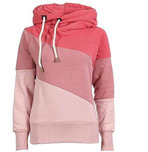 Huafeiwude Women's Thick Fleece Hooded Funnel Neck Sweatshirt Pullover Hoodie Pink2 M