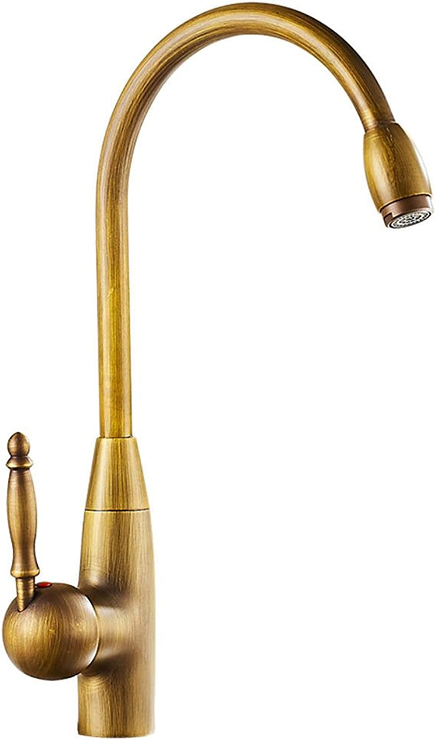 Commercial Single Lever Pull Down Kitchen Sink Faucet Brass Constructed Polished Full Copper Kitchen Hot and Cold Faucet Antique Retro Faucet Can Be redated
