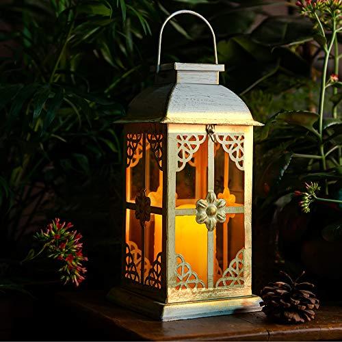Solar Laterne für außen - mit hell flackernder LED Kerze - Tisch- und Hängelampe - in- und outdoor - extra Metall Laterne im Antik-Stil -Solar Laterne weiß mit glas fenster - wetterfest - 14x14x28cm