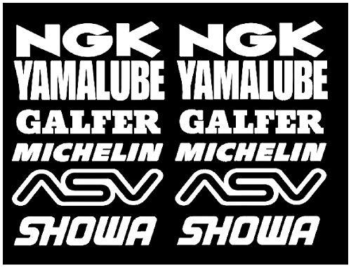kit adhesivos 12 pegatinas blancas logotipo de Michelin Yamalube NGK, 16 cm, pegatinas para coche, moto, camioneta sticker