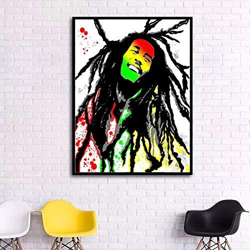 No frame Indruk Bob Marley Portret print Olieverf Canvas Schilderijen Gedrukt Wall Art Hangende foto's Mode Woondecoratie 50x65cm