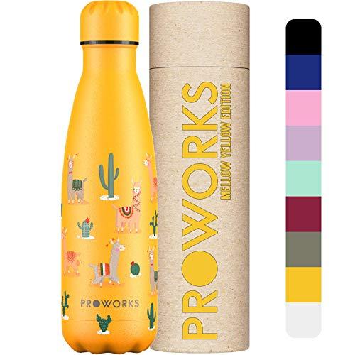Proworks Botellas de Agua Deportiva de Acero Inoxidable   Cantimplora Termo con Doble Aislamiento para 12 Horas de Bebida Caliente y 24 Horas de Bebida Fría - Libre de BPA - 500ml - Llamas y Cactus