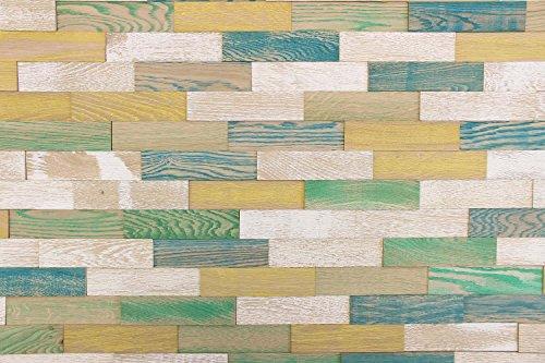 wodewa Paneles de Madera Para Pared Estilo Vintage Rústico I 1m² Revestimiento de Paredes 3D Panel Decorativo Madera Interior Sala de Estar Cocina Dormitorio Mural Retro Shabby Chic Colorido