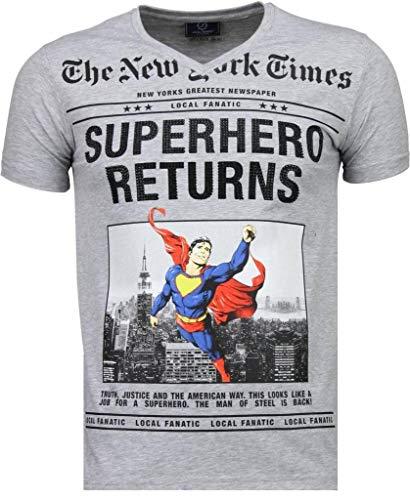 Local Fanatic Camisetas - Superhero Returns Camisetas Personalizadas - Gris