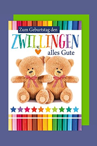 Zwillinge Geburtstag Grußkarte Doppeltes Glück Teddybär 16x11cm