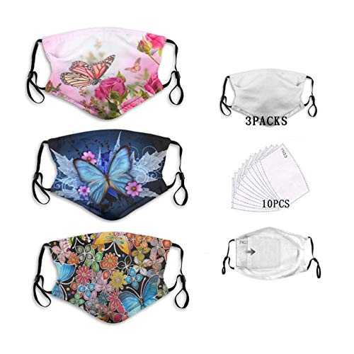 Butterflies Floral Face Mask Reusable - Washable Windproof QINPNVY Mouth Cover for Adults Adjustable Nose Wire Mask (3 Pcs Mask & 10 Pcs Filters)