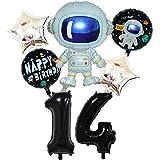 DIWULI, Juego de globos espaciales grandes con número 14, color negro, globos de papel de aluminio,...