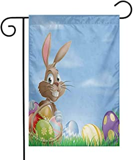 Zzmdear Single Sided Garden Flag, Beautiful Decoration, Painted Easter Eggs with Dots Chevron Zigzags and Stripes in a Basket Cartoon Bunny, Multicolor, 12