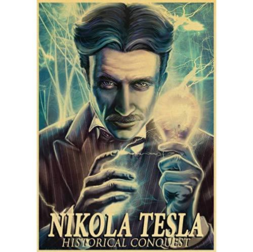 CINRYTN Carteles De Lona Nikola Tesla Cartel Retro Lámpara De Turbina Calcomanías De Invención Patentada Pinturas Decorativas para El Hogar 50 * 70 Cm Sin Marco