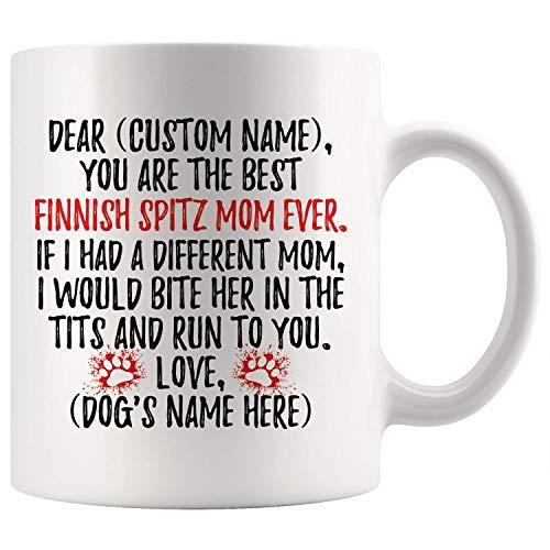 Regalos personalizados para mamá de perro Spitz finlandés, taza de café para dueño de perro ladrando, perro de caza finlandés para mujeres, regalo para mamá de Spets finlandés, taza de café para mamá
