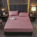 HAIBA Bedding - Cubrecolchón acolchado de microfibra suave, protector de colchón, también para camas con somier, color rosa oscuro, 120 x 200 cm