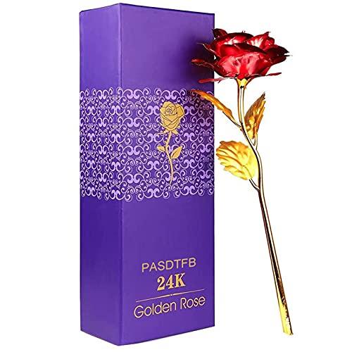PASDTFB Rosa 24 K Chapado en Oro Rosa, La Flor Rosa Artificial es un Regalo para la Novia y la Esposa, día de San Valentín, día de la Madre, Aniversario, Cumpleaños, Boda (Rojo)