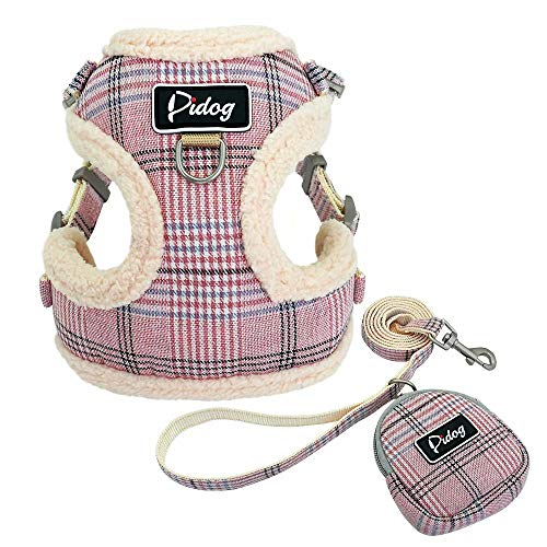 Didog Soft/Cosy Dog Vest Harness and Leash Set with Cute Bag, Escape Proof Breathable Mesh Dog Harness,Classic Plaid/Back Openable,Fit Walking Small Dogs, Cats