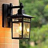 Retro Außen-Wandleuchte Außenlampe Schwarz Rustikal Gartenlampe Aluminum mit Glass Schatten Wandlampe Antik Aussenlampe Wasserdichter IP23 für Hof Terrassen Eingang Hauswand Fassaden 23 * 18 * 31CM