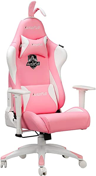 AutoFull Pink Gaming Chair PU Leather High Back Ergonomic Racing Office Desk Computer Chairs With Massager Lumbar Support Rabbit Ears