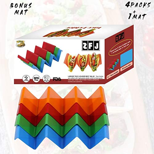 Taco Holders Stand Plate Set of 4 Bonus Silicone Table Mat Premium Shell Mold Taco Tray with Convenient Handle Each Roll Holds Taco Shell Upright for Easy Filling PP Material BPA Free Microwave Safe