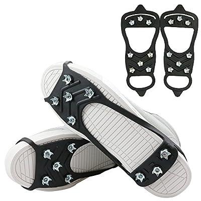 1 Pair of 8 Steel Studs Anti Slip Ice Snow Grips Crampons Women Men Ice Spikers Grippers Walk Traction Cleats Spikers Ice Traction Slip on Boots Shoes (8-Studs-Black, Medium:Men:3-7/Women:5-8)