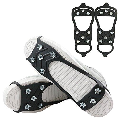1 Pair of 8 Steel Studs Anti Slip Ice Snow Grips Crampons Women Men Ice Spikers Grippers Walk Traction Cleats Spikers Ice Traction Slip on Boots Shoes 8StudsBlack Large:Men:711/Women:9