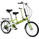 MOMOJA Bicicleta tándem 7 velocidades Bicicleta Plegable de 20 '' para Padres e Hijos (Verde)