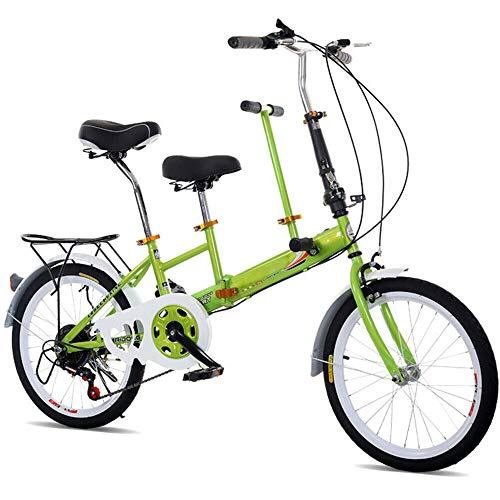20'Plegable Tandem Bike Family Bicycle 2 Seater 7 Speed Stable Solid Frame Green