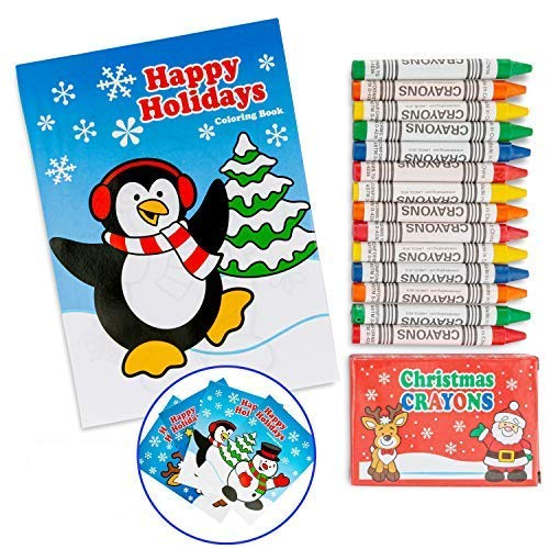 "24 Pcs Christmas Party Favor Stuffers Holiday Themed 12 7"" Coloring Books And 12 Pack Crayons. Goody Bag Handout Assortment Kids Activity And Fun Reward Prizes"