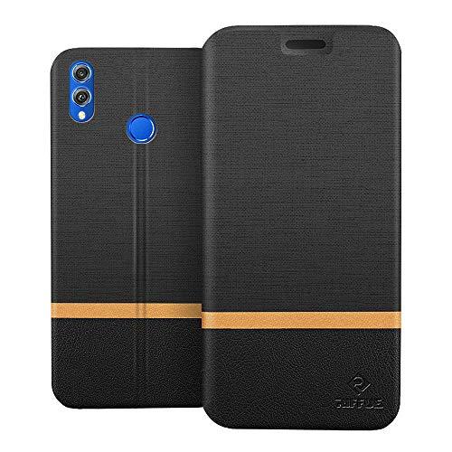 RIFFUE Caso Honor Ver 10 Lite, Honor 8X Cover, tampa protetora Magro retro modelo Denim Wallet no filme PU suave para Huawei Honor Ver 10 Lite / 8X honra - azul