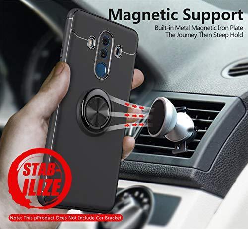 Kompatibel mit Huawei Mate 20 Pro Hülle Huawei Mate 20 Lite Silikon Schutzhülle Handyhülle Shockproof Handytasche Ultra dünn Auto Mount Halter Schutz mit Griff Ring Halter (Pink, Mate 20 Lite) - 3