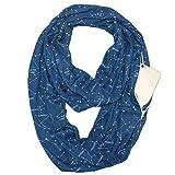 El bolsillo unisex de la bufanda de la estrella pares de la manera babero Infinito bufanda de almacenamiento de la cremallera del bolsillo del abrigo de la bufanda para hombres y mujeres (azul)