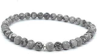 Pulsera elástica de jaspe gris, piedras naturales de 4 mm de grosor, cadena de plata ajustable de 16cm a 19cm.