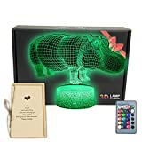 Hippo Animals 3D Illusion LED Room Decor Lamp Night Light with Greeting Card,16 Colors Change,Remote Control,Bedroom Decorations Toys Gifts for Men, Women, Kids, Girls, Boys, Teens
