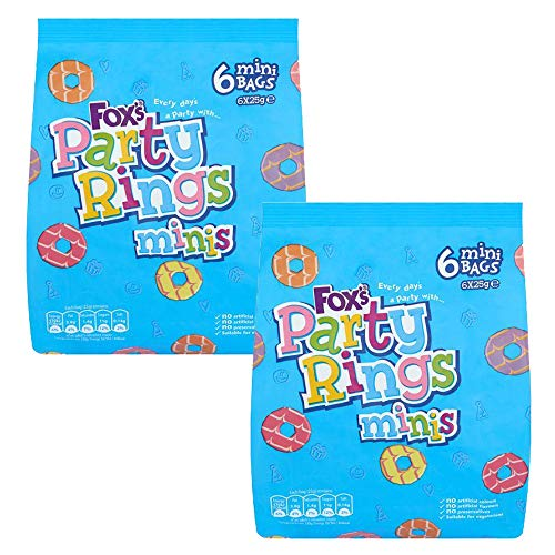 Fox's Party Rings Mini Original Party Rings Biscuit, (Pack of 6X 21g) x 2