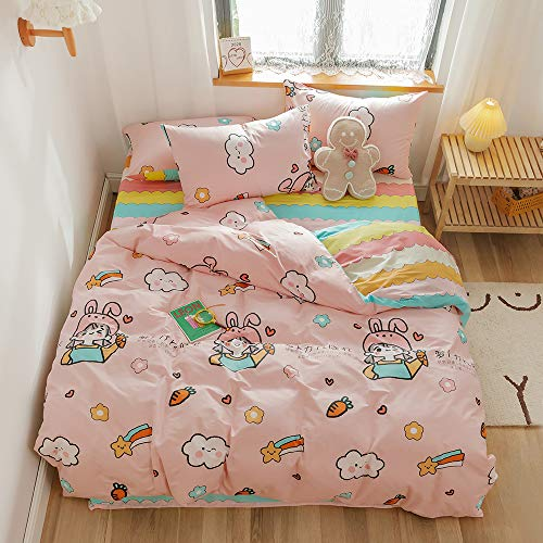 Japanese Cartoon Duvet Cover Twin Pink Girls 100% Cotton Comforter Cover Colorfast Bedding Set 1...