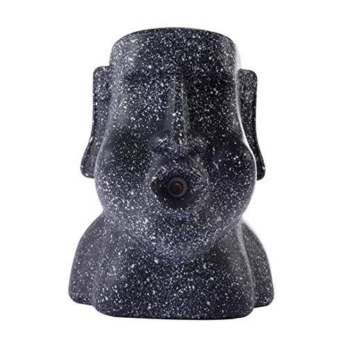Fenteer Moai Statue Luftbefeuchter Persönlicher Tragbarer Cool Mist 220ml Luftverteiler für Büroschlafzimmer - Schwarz