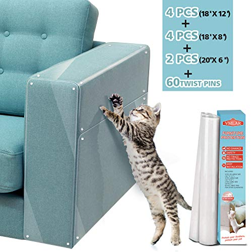 VMLAR Furniture Protectors from Cats, Anti Cats Scratch Guards Deterrent Training Tape, Clear Premium Heavy Duty Flexible Vinyl Protector, Stops Scratching Cat Couch Protector Guards (10 PCS)