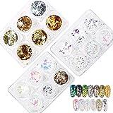 FLOFIA Papel de Vidrio para Uñas Lentejuelas Glitter Uñas Irregular Nail Sequins Confeti Nail para Uñas Arte Decoración Maquillaje Festival Cuerpo Multicolor (18 Estilos Mixtos)