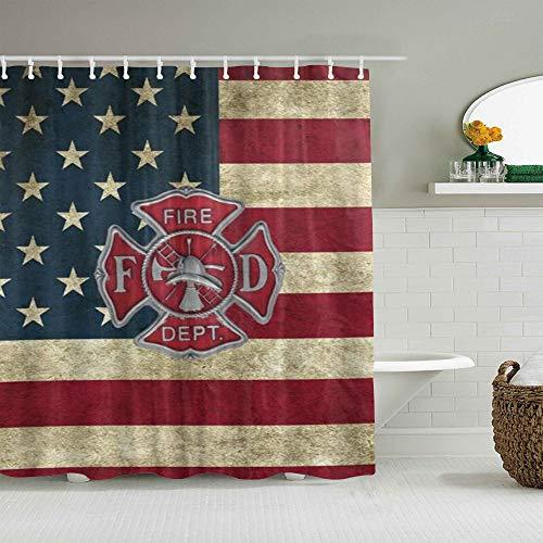 SUHOM Duschvorhang,Feuerwehr Logo Feuerwehrmann,personalisierte Deko Badezimmer Vorhang,mit Haken,180 * 180