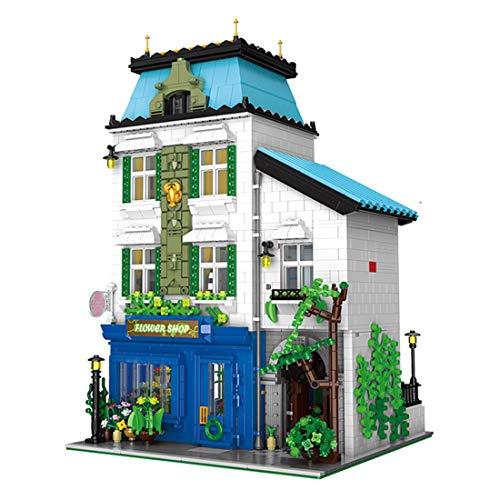 PLEX Haus Bausteine Bausatz, 3-Etagen Blumenladen Modular Gebäude Modell, 3331 Teile Klemmbausteine Architektur Bauset Kompatibel mit Lego Haus